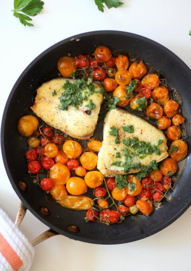 VL_Slow Roasted Halibut with Burst Tomatoes and Gremolata